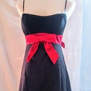Party/Holiday Black w/White Polka Dot Red Bow